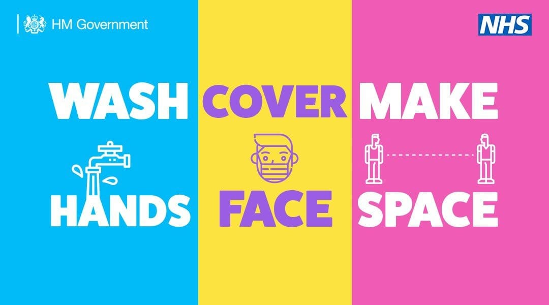 Image of Covid Advert: Wash Hands, cover face, make space